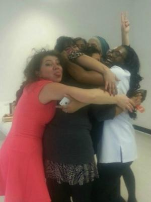 Beaulaz students hugging